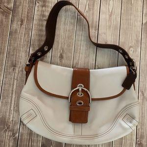 Coach Shoulder Bag, White, Vintage, Leather Used